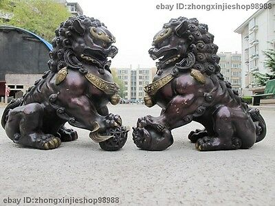 China Red Bronze Copper Feng Shui Evil Guardian Door Fu Foo Dog Lion Pair