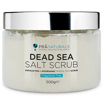 PraNaturals Dead Sea Salt Scrub Fragance-Free Pure Organic Bath Body Scrub 500G
