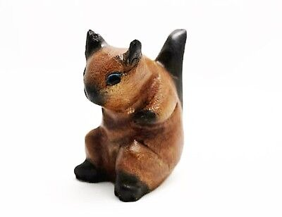 """Small Wooden Sitting Squirrel, 3.5"""" tall, Home - Office Decor - Hand Carved"""