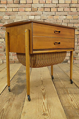 Mid-Century RETRO SEWING TABLE TROLLEY BASKET BOX VINTAGE 1960s
