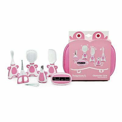 The Neat Nursery Co. Baby Hair Brush/Nail Clippers/Toothbrush Grooming Kit- Pink