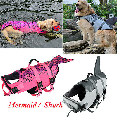 M/L Pet Dog Cat Saver Life Jacket Vest Reflective Preserver Aquatic Sailing New