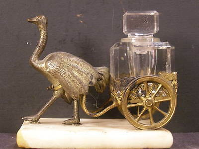 19c Ostrich Statue Sculpture Palais Bronze Inkwell French Perfume Bottle Figure~