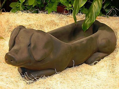 Cast Stone Cement Pig Planter Statue Outdoor Garden Statuary