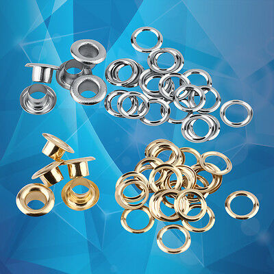 100PCS Metal Eyelets Size 5mm with Washers in Silver Gold for Leather Craft