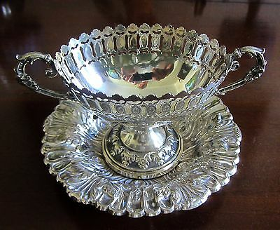 """Vintage Silver Plated Bon-Bon Dish and ornate tray approx 7"""" in diameter"""