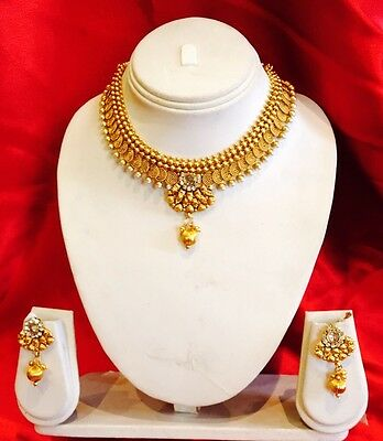 Bollywood Indian Bridal Necklace Earrings Jewellery Set Antique Gold Tone P6