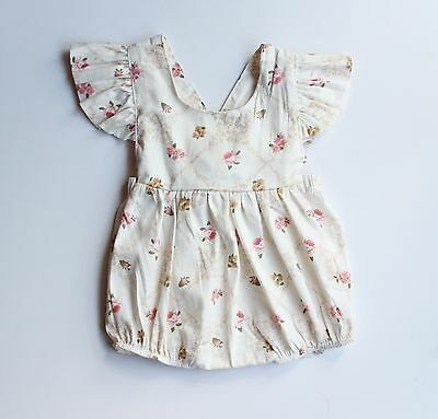 Baby Kids Girl Infant Romper Jumpsuit Bodysuit Cotton Vintage Clothes Outfit AU