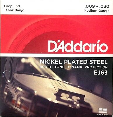 EJ63 D'Addario Tenor Banjo Strings, Nickel Plated, Loop End, Medium Gauge