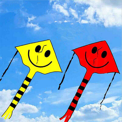 1pc Cute Smiley Face Kite Easy to Fly Single Line Fun Childrens Kids Toy Gift
