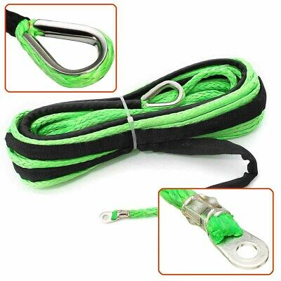 Auto 50ft Green Synthetic Winch Rope Line Cable 5500 LBs With Rock Guard For ATV