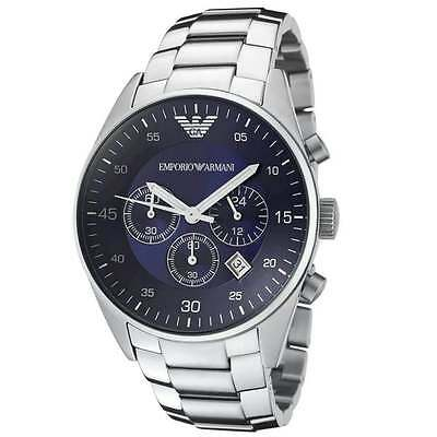 New Emporio Armani Ar5860 Stainless Steel Blue Dial Chronograph Mens Watch