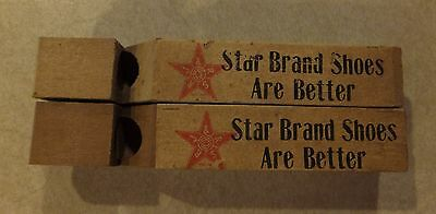 2 Vintage Star Brand Shoes Wooden Advertising Whistle W/ Paper Labels