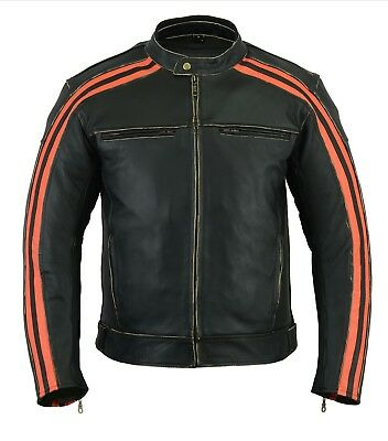 Bikers Gear Retro Black The Bonnie Leather Motorcycle Jacket Armoured BL/Orange