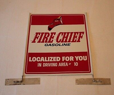 Fire Chief Gasoline Sign - Original metal sign with brackets (Not reproduction)