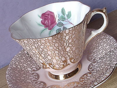 Vintage Queen Anne England mauve pink and gold rose bone china tea cup teacup