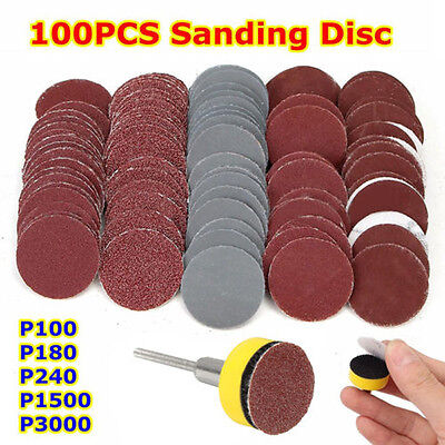 "100Pcs Mixed Sand Disks Paper Abrasives 1"" Hook & Loop Backer Plate Shank Set #S"