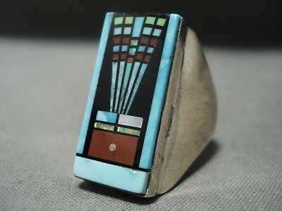 Outer Space Kachina Navajo Turquoise Heavy Silver Ring