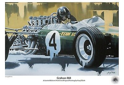 GRAHAM HILL Large A3 limited edition print by Greg Tillett FORMULA 1 F1 Lotus