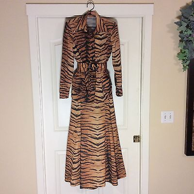 BY DAVID SMITH Vintage Womans 3 Piece Set TIGER PRINT 60's 70's Polyester