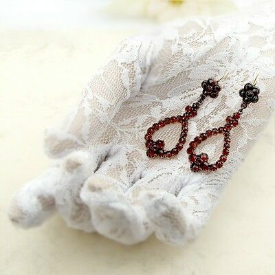 Vintage garnet earrings w/14ct gold wires Victorian style || ГРАНАТ OX3R87E#PK