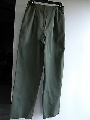 Vintage Personal 1980's Khaki Green Pleated Pants Size 8 Inseam 31.5 EUC