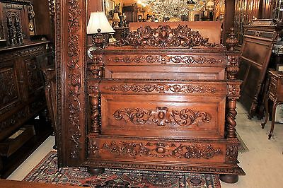 Beautiful Antique French Oak Renaissance Full / Queen Size Bed.