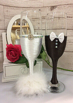Mr & Mrs glasses BRIDE and GROOM  Wedding Glasses Champagne Flutes brown white