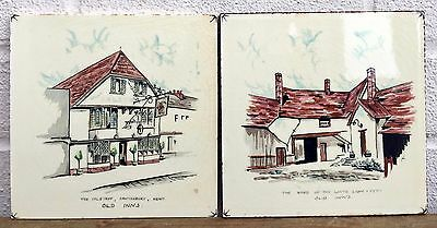 2x CARTERS -OLD INNS- COLLECTORS DECORATIVE PUB FLOOR/WALL TILES SET
