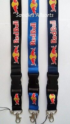 Red Bull Drink Lanyard Neck Straps -  Clip Release - id badge / whistle / keys