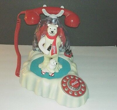 Vintage Coca Cola Light Up Musical Ice Skating Polar Bear family Phone