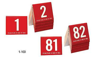 Plastic Table Numbers 1-100 Tent Style, Red w/white number, Free shipping
