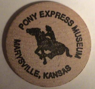 Pony Express Museum: Marysville, Kansas / Classic Buffalo Front ~ Wooden Nickel