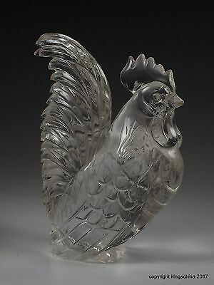 CHINESE CARVED cockerel CHICKEN ROCK CRYSTAL Qing