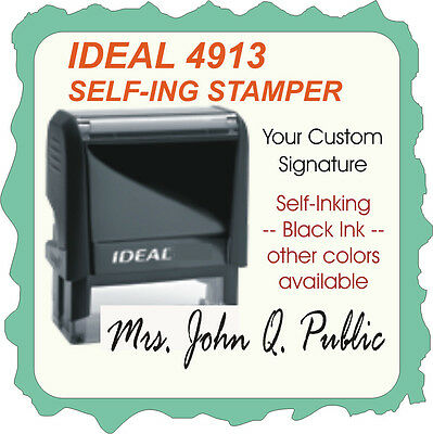 Signature Stamp, Trodat Printy / Ideal Custom Self Ink Rubber Stamp 4913