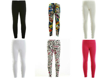 Kids Girls Plain Full Length Stretchable Leggings Great Fit 7 - 13 Years