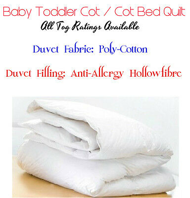 Anti Allergy Baby Toddler Cot Bed Duvet Quilt Nursery Junior