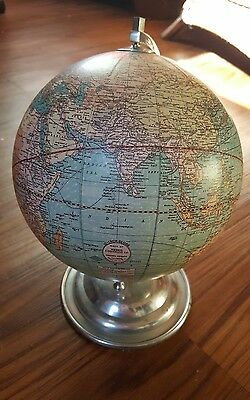 Antique Weber Costello Paper 12 Inch Globe adjustable wood base 1921