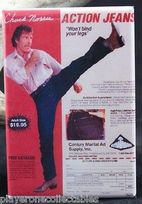 "Chuck Norris Action Jeans Vintage Advertising 2"" X 3"" Fridge / Locker Magnet."