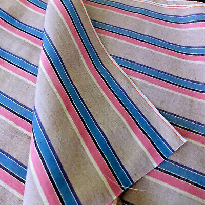 Vintage 1950s Linen Twill Fabric Stripe Summery Pink Blue Pillow Crafting 2 Yds