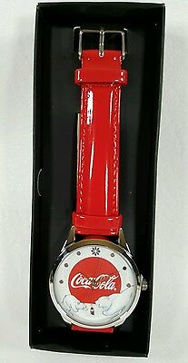 Coca Cola Christmas Bear Wrist Watch Red Shiny Band