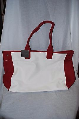 Restoration Hardware Red White Canvas Beach Tote Bag Shopping Bag Large