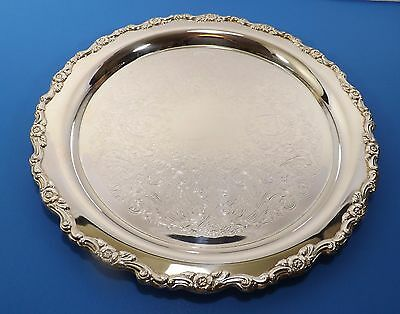 """Lovely Vintage Large 12"""" Round  Flower Bordered Chased Silver Plate Tray"""