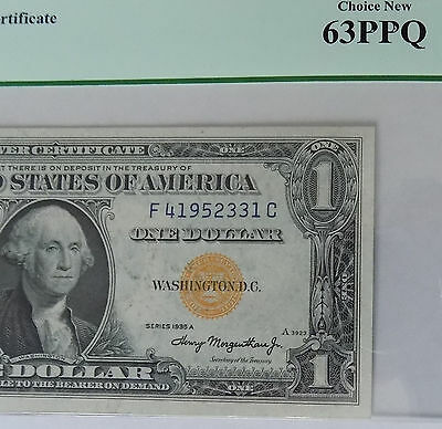 "Pcgs Choice New 63Ppq 1935A $1 ""north Africa"" Silver Certificate- Rare Fc Block"