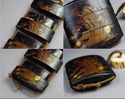 Japanese old lacquer ware SAMURAI pillbox INRO with Cherry Blossom Trees
