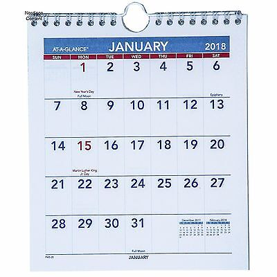 2018 At-A-Glance PM5-28 Mini Monthly Wall Calendar, 6-1/2 x 7-1/2""
