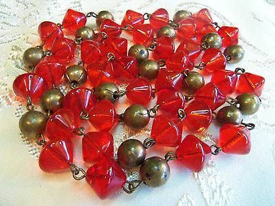 Art Deco Long  Red poured glass and Brass bead Necklace gorgeous estate jewelry