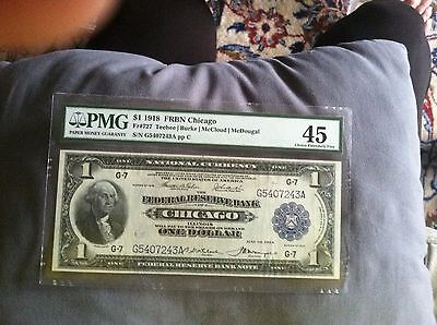 $1 1918 FRBN Chicago Fr.#727 PMG45 Choice Extremely Fine