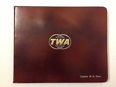 Vintage 1960s TWA Captain Pilot Certificate Cover And History Book Booklet 60s