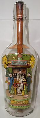 1908-1915 Signed Carl Worner Saloon in a Bottle Whimsey Lady in Hat, Missing Man